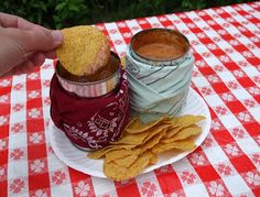 Camping Chip Dip in a Can (black beans, cheese, salsa, refried beans, cilantro...endless possibilities)