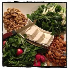Healthy #persian #food : roll up feta cheese with nuts and mint..yummy!