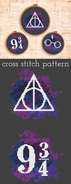 Set of three Harry Potter cross stitch patterns. Platform 9 3/4 , Deathly Hallows