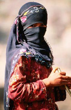 Middle East  Portrait of Muslim woman in headscarf.
