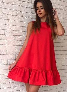 Повседневное платье из хлопока длины выше колена цвета сплошного без рукавов