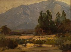 Distant mountains are portrayed in this work attributed to Hanson Puthuff, 12x16 Oil on Board