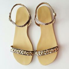 Ann Taylor   Jeweled Sandal Gorgeous bejeweled toe strap, exotic embossed texture and polished metallic heel. Adjustable buckle at side ankle for secure fit. Worn twice. Excellent condition, with shoe box. Ann Taylor Shoes