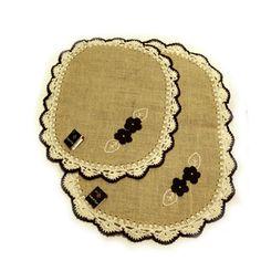 Tapetes em juta e acabamento em crochê, 2 pçs. www.gostodefazer.com