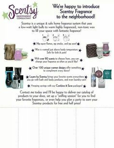 Scentsy in the neighborhood for new customers! www.emilyhick.scentsy.us Follow me on Facebook: www.facebook.com/emilyhickwithscentsy Follow me on Instagram: www.instagram.com/perfect_scents_with_emily