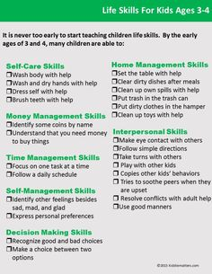 Life Skills Checklist For Children And Teens