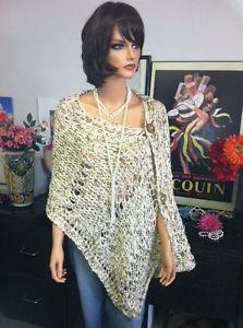 Hand Knit Shawl Wrap Stole Gold Cream Button Designer Fashion Hip Chic Women | eBay