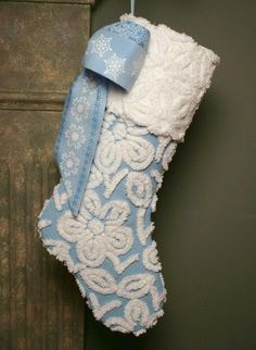 Blue chenille Christmas stocking
