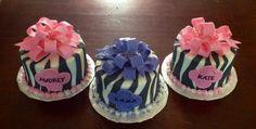 Mini zebra cakes with fondant bows