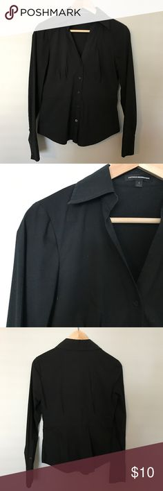 Express Black Button Down Express button down in black. V-neck, waist seaming. Fabric has some stretch to it. Express Tops Button Down Shirts