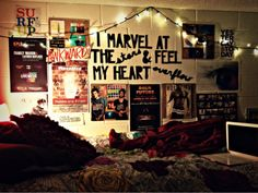"Dorm room photo wall with lights - ""I marvel at the stars and feel my heart overflow"""