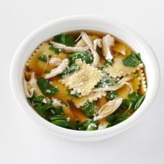 Quick Ravioli & Spinach Soup   Taste of home --- chicken broth, 1/4 onion powder, 1 pkg small cheese ravioli, 4 c chopped spinach, 3 c cooked chicken, parm. cheese.  Combine first 3, boil, add ravioli cook 7 - 10 min. add spinach and chicken last 3 min. of cooking.   6 servings.