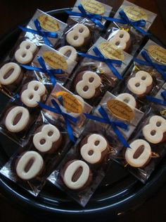 12 Milk Chocolate 80th Oreo Cookie Favors Number Eighty Birthday Party Favors Celebration 80. $24.00, via Etsy.