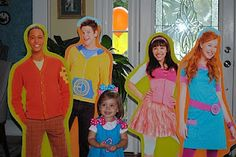 Fresh Beat Band cardboard cutouts: Find high resolution photo on google search, ask local print/sign shop to enlarge... Once done, tape wooden dowels & drill to a wooden base so they'll stand