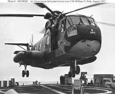 """HH-3 """"Jolly Green Giant"""" US Air Force rescue helicopter hovering over the after deck of USS William V. Pratt (DLG-13) ... These Rescue Helicopters could have been sent by both the US Battle Carriers, USS USS SARATOGA and the USS AMERICA to assist the suffering sailors of the USS LIBERTY!"""