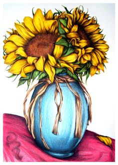 Awesome rustic flowers drawing