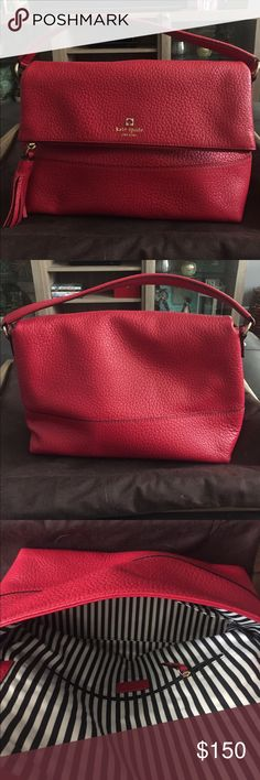 Kate Spade Handbag 100% AUTHENTIC RED LEATHER KATE SPADE PURSE. Never worn. Red leather exterior with super cute black and white striped interior. Fold over flap with magnetic enclosure. Three internal pockets. NO flaws. Comes with Kate Spade dust bag. kate spade Bags Totes