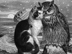 Owl and Pussycat Engraving Collage art prints cards by greenboat, $18.00