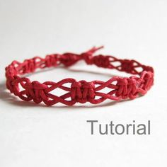 Beginners macrame knotted bracelet pdf tutorial pattern easy red diy instructions tuto jewelry step by step makpame micro jewellery how to                                                                                                                                                      More
