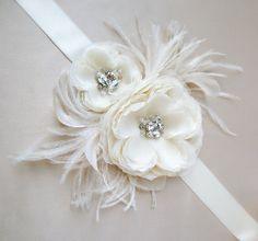 Hera Double Flower Gemstone Beaded Feathered Bridal by EmiciBridal, $290.00