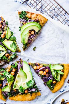 This gluten free, vegan, plant based pizza is made with a sweet potato crust topped with kale pesto, vegan parmesan cheese, crispy tandoori masala chickpeas, caramelized red onion, fresh kale and cilantro leaves and avocado! It's a healthy and delicious dinner recipe made in under an hour!
