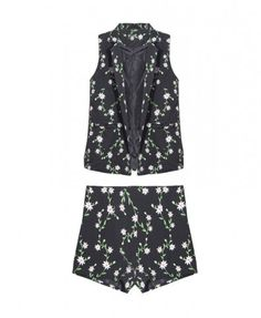 Sleeveless Suit with Mini Flower