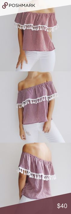 • Kassie Striped Off The Shoulder Top • Red striped off the shoulder layered top with tassel trim detail. 100% Polyester. *Modeling size Small*  ☑️ NO trades. Price is FIRM unless bundled. ☑️ Sizes Available: Small, Medium, and Large. Tops