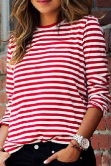 Red-White Striped Print Long Sleeve Round Neck Fall Fashion Casual T-Shirt - T-Shirts - Tops Striped Long Sleeve Shirt, White Long Sleeve, Striped Tee, Long Sleeve Tops, Long Sleeve Shirts, Long Shirts, Shirts & Tops, Breton Stripes Outfit, Casual Tops