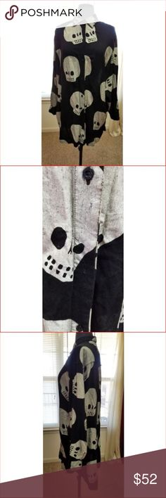 """Lazy Oaf Top S/M Skull Goth Oversized Buttons Lazy Oaf Womens Top Small Medium Goth Oversized Button Down Black Gray This shirt originally sold at ASOS for $120.  This oversized Lazy Oaf shirt is in great condition but it is missing 1 button.  Size Small Chest 23"""" Sleeves 21"""" Length shoulder to hem 33""""  My home is smoke free and pet free. Lazy Oaf Tops Button Down Shirts"""