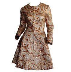Richard Tam Vintage Neiman Marcus 1960s Metallic PSYCHEDELIC Dress Retro Avant Garde Mod Vintage Gold, Silver & Bronze Bell Dress WOW!