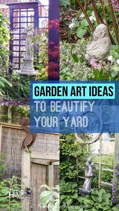 Learn how to use garden decor and yard art to add interest to your outdoor space with these awesome garden art ideas. #fromhousetohome #gardenideas #gardeningtips #outdoordecor #gardenart #landscapedesign