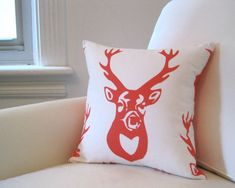 Eco Friendly Antlers PILLOW Cover - Orange White Throw Pillow Sham - Woodland Accent Cushion in Tangerine White Deer - Rustic Home Decor
