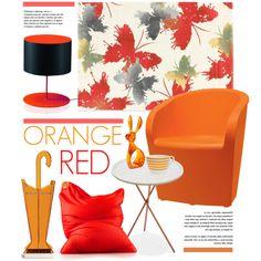 orange & Red Decor by lovethesign-eu on Polyvore featuring interior, interiors, interior design, Casa, home decor, interior decorating, Metalmobil, Koziol, Sitting Bull and red