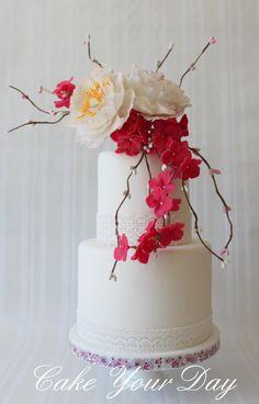 White Peony Wedding Cake ~ with gumpaste peonies and gumpaste pink Hydrangeas ~ all edible