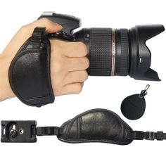 First2savvv OSH0701 Professional Wrist Grip black genuine leather hand Strap for Panasonic LUMIX DMC-GH4HEB with UV lens filter protection bag case * Click image to review more details.