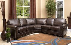 Arizona Dark Truffle Italian Leather Sectional Sofa