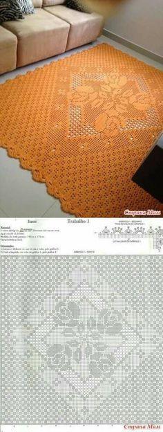 tapete de crochê quadrado laranja com gráfico