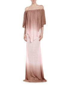 Fiona Double-Ombre Maxi Dress, Coffee/Blush