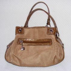 Kathy Van Zeeland Beige Double Strap Hobo bag, Two-tone material, KVZ Purse