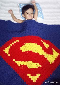 Superman Blanket - Free Crochet Pattern