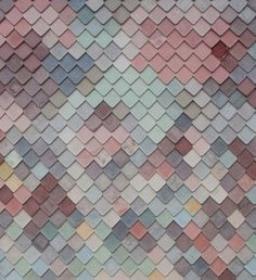 Handmade concrete tiles give a scaly facade to this collaborative workplace building designed by Assemble for artists and designers in east London. Textures Patterns, Color Patterns, Color Schemes, Living Colors, Concrete Tiles, Muted Colors, Pastel Colours, Wall Design, Color Inspiration