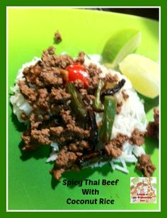 Spicy Thai Beef with Coconut Rice Recipe Thai Beef Recipe, Thai Recipes, Rice Recipes, Asian Recipes, Beef Recipes, Cooking Recipes, Beef Massaman, Real Chinese Food, Quick Meals To Make