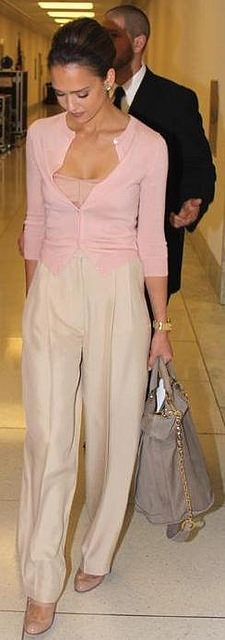 Actress Jessica Alba seen out and about in Christian Louboutin shoes, trousers by Chloe and carrying Derek Lam Blanche Bucket Bag. Jessica doing pastel, love it.   *courtesy of Delortae Agency UK's 1st luxury authentic handbag SPA Visit us on Facebook: www.facebook.com/DelortaeAgency