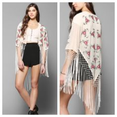 Urban outfitters Embroidered Fringe Kimono Jacket Urban outfitters pins and needles.  Multicolor Embroidered Roses Fringe Kimono Jacket. Good condition. No holes or tears. Make an offer Urban Outfitters Tops Camisoles
