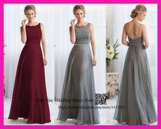 Vestido Madrinha De Casamento Gray Burgundy Lace Long Bridesmaid Dress 2015 Party Dresses Vestidos De Festa Scoop