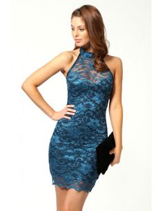 Blue Sweetheart Halterneck Lace Club Dress is sure to keep them gazing long after you're gone.  There is no better make u for a special occasion or a night out than th Sweetheart Halterneck Lace Dress. Well-designed in exquisite floral lace and sweetheart underneath inside. It Features mock neck with buttons back, sleeveless, open back and scalloped hemline.