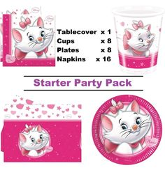 Disney Aristocats Marie 16 Guest Party Pack - Tablecover - Cup - Plate - Napkin