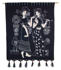 Tribal Ethnic Women Batik Wall Hanging Art