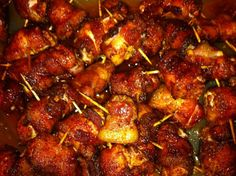 Sweet Chicken Bacon Wraps.  Amazing.  Simply amazing.  Wrap a cube of chicken in bacon and cover it in brown sugar and chili powder.  Delicious and perfect for tailgating and parties.  Not the cleanest recipe ever, but they are so worth it.