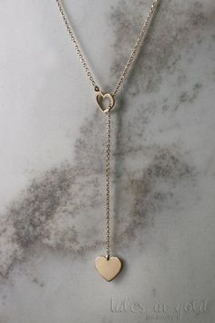 Heart Necklace Gold Necklace Yellow Gold 14 Karat by TalesInGold Cute Jewelry, Gold Jewelry, Jewelry Accessories, Jewelry Design, Lariat Necklace, Gold Necklace, Pendant Necklace, Earrings, Girls Necklaces